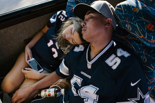 patriots fans asleep on the bus