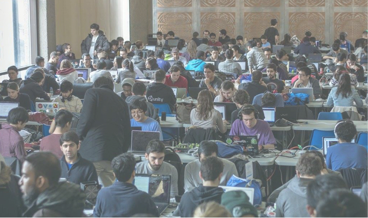 busy room for an university hackathon filled with student hackers