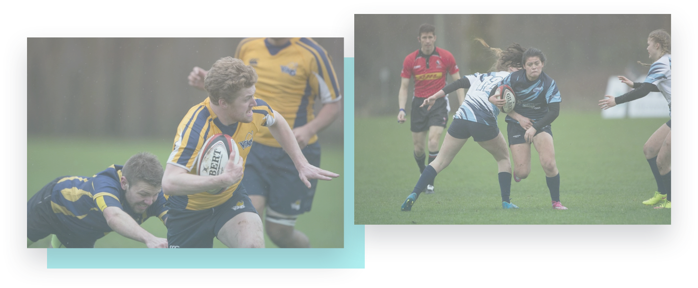 men and women rugby teams in action on the field