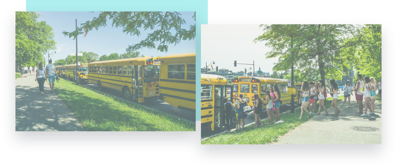 riders lined up to board a school bus